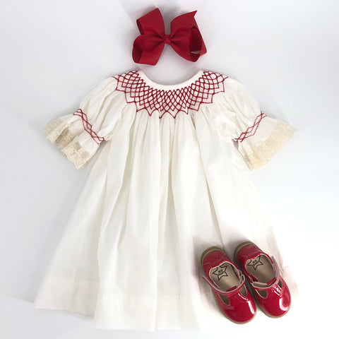 Heirloom Ivory Bishop Dress With Red Smocking