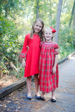 Christmas plaid & red knit dress - sizes 2T - 12 matching sibling outfits