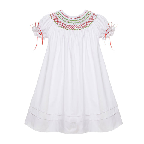White Classic Smocked Christmas Bishop Dress with Ribbons