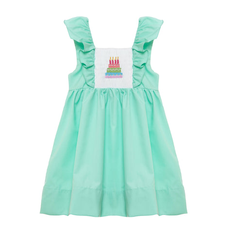 Birthday Cake Smocked Flutter Sleeve Dress