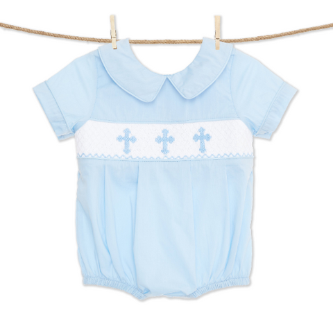 Blue Cross Smocked Bubble