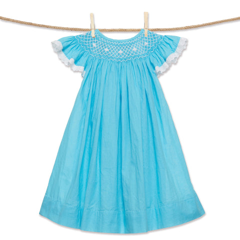 Blue Smocked Heirloom Bishop Dress
