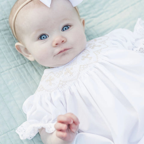 White Smocked Cross Bishop Dress - White with Cream crosses