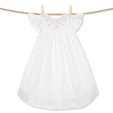 White Smocked Rosette flutter sleeve Dress