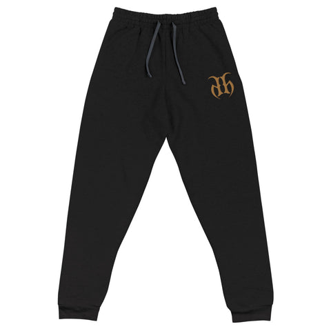 Hustle Harder Unisex Joggers Embroidered Logo (Gold)