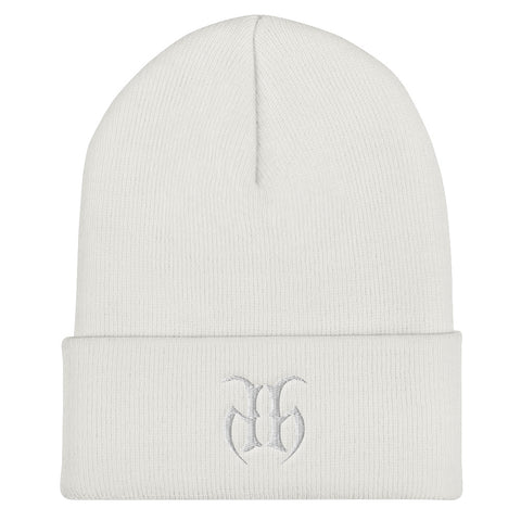 Hustle Harder (White) Cuffed Beanie