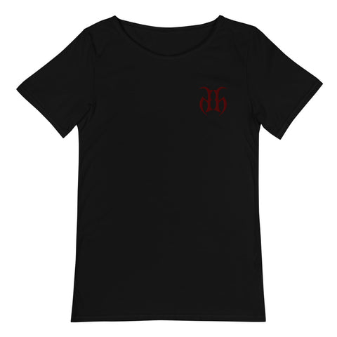 Hustle Harder Raw Neck Embroidered Logo T-Shirt (Maroon)