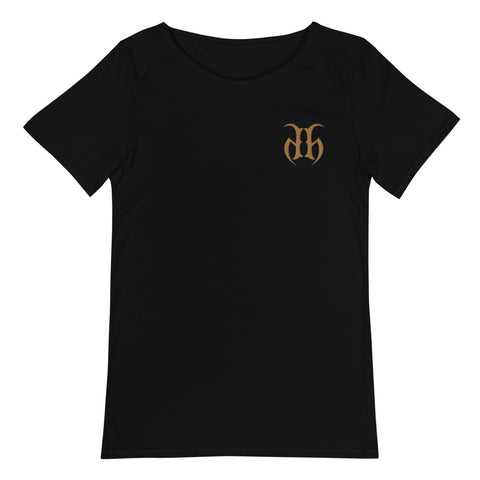 Hustle Harder Raw Neck Embroidered Logo T-Shirt (Gold)