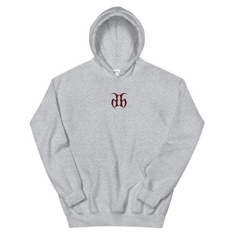 Hustle Harder Center Chest Embroidered Logo (Maroon) Unisex Hoodie