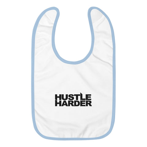 Hustle Harder Embroidered Baby Bib