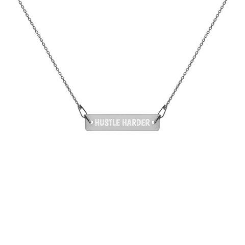 Hustle Harder Engraved Silver Bar Chain Necklace