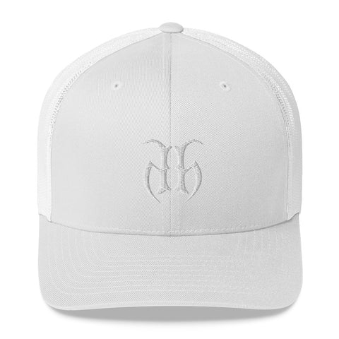 Hustle Harder (White) Retro Trucker Hat