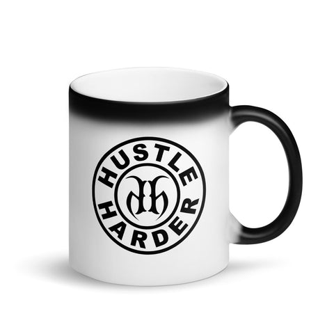 Hustle Harder Matte Black Magic Coffee Mug