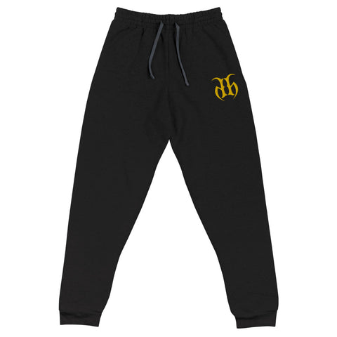 Hustle Harder Unisex Joggers Embroidered Logo (Yellow)