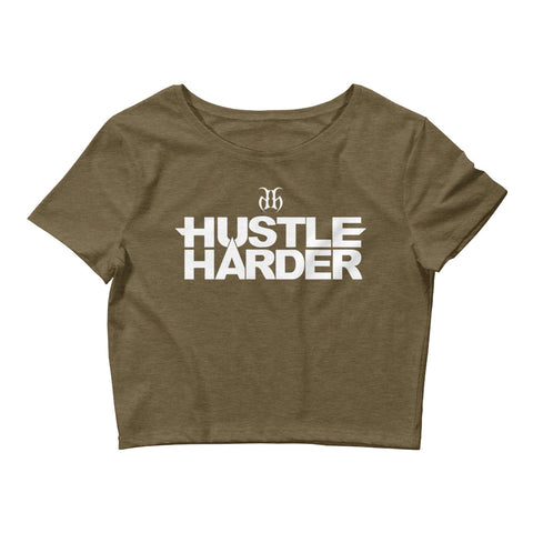 Hustle Harder Women's Crop Tee