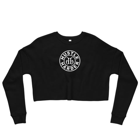 Hustle Harder (White) Fleece Crop Sweatshirt