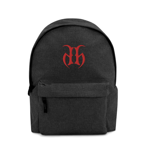 Hustle Harder (Red) Embroidered Backpack