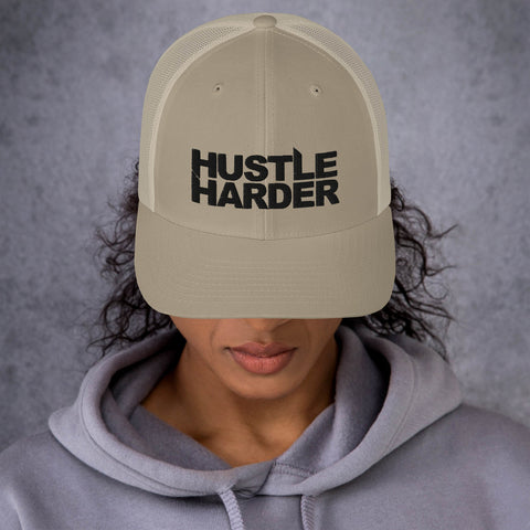 Hustle Harder Edge Tan Mesh Trucker Cap