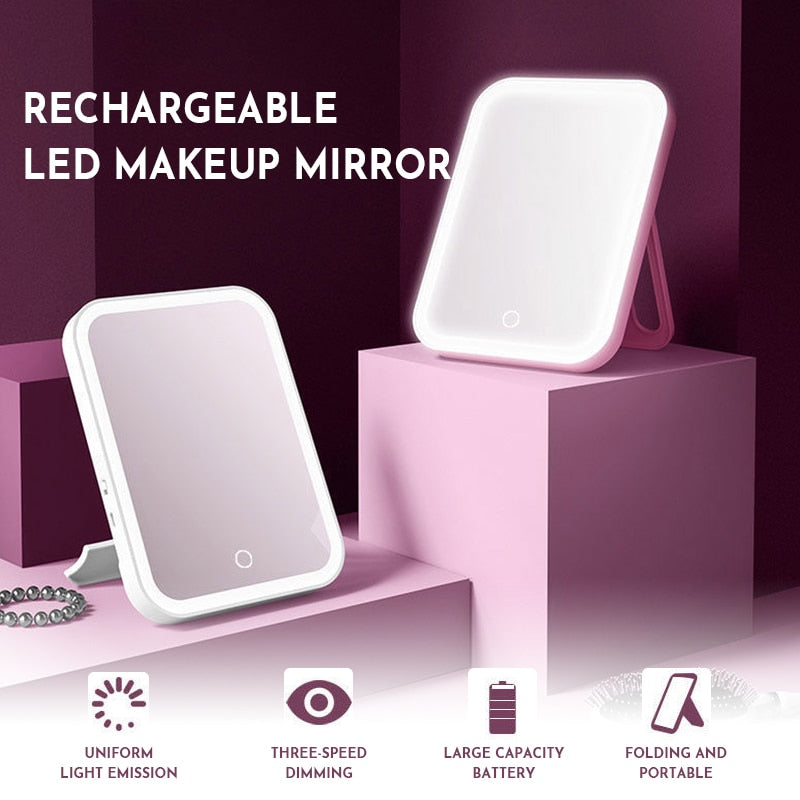 Led Makeup Mirror Touch Screen 3 Light Mirrors Vanity Mirror