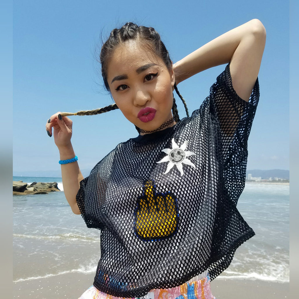 2319714b608 90s Crop Top Mesh with 3-D Happy Face Sun patch Custom Item Fresh and ...