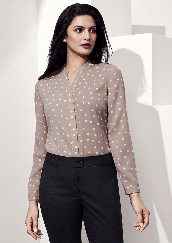 BC Juliette Spot Print long Sleeve Blouse - Workwear Warehouse
