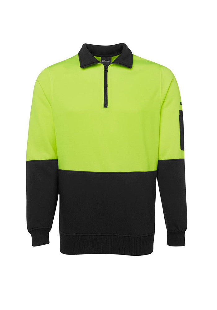 JB'S Hi Vis 1/2 Zip Fleecy Sweat - Workwear Warehouse