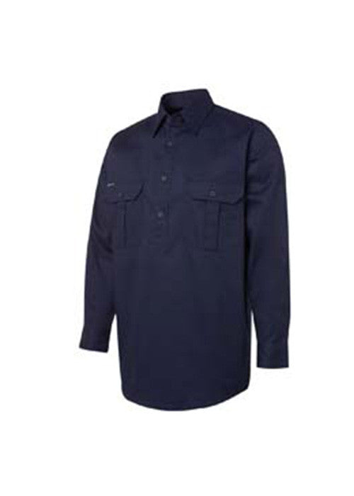 JB'S L/S 190gm Closed Front Work Shirt - Workwear Warehouse