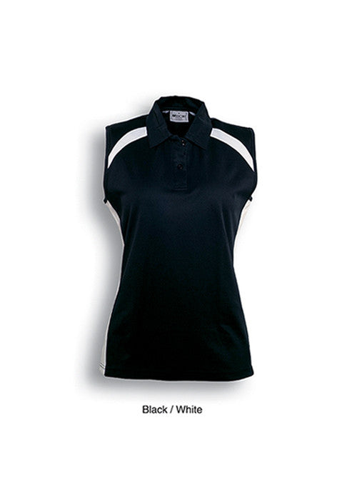 Bocini Ladies Team Essentials Sleeveless Contrast Polo - Workwear Warehouse