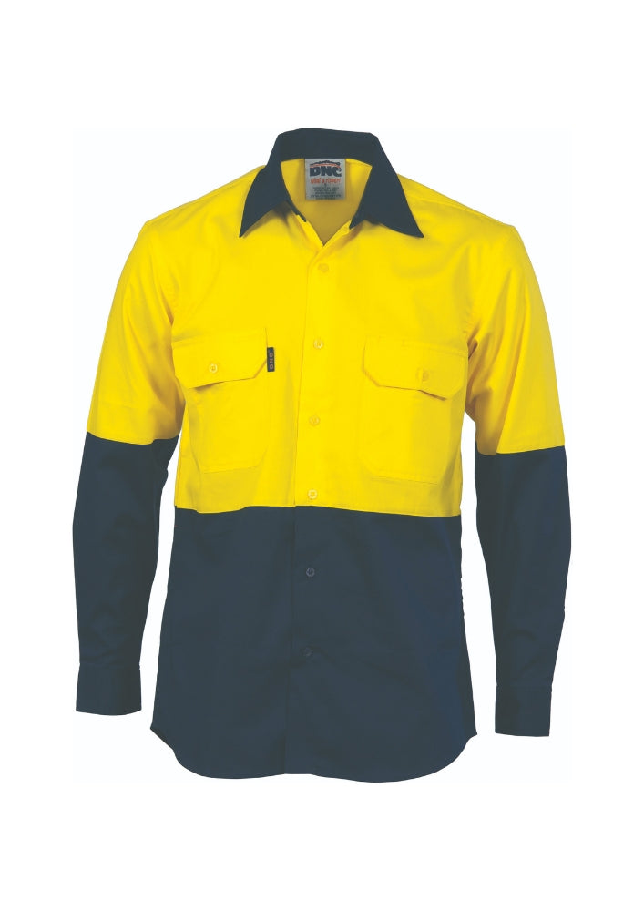 DNC Hi Vis Cool Breeze Vertical Vented Cotton Shirt - Workwear Warehouse
