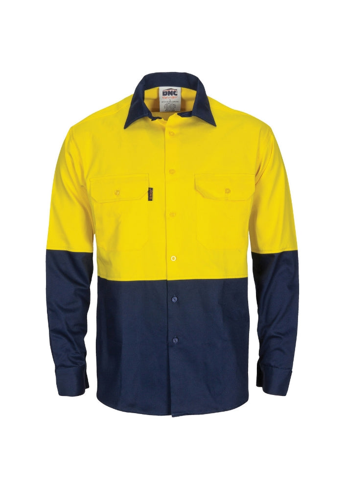 DNC Hi Vis 2 Tone Drill Shirt with 3M8906 R/Tape - Workwear Warehouse