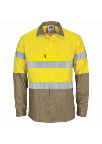 DNC Hi Vis (D&N) L/W T2 Vertical Vented Shirt with Gusset Sleeves - Workwear Warehouse