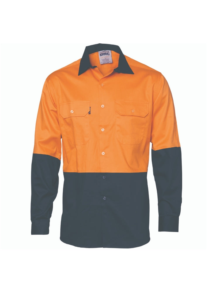 DNC Hi Vis 2 Tone Cotton Drill L/S Shirt - Workwear Warehouse