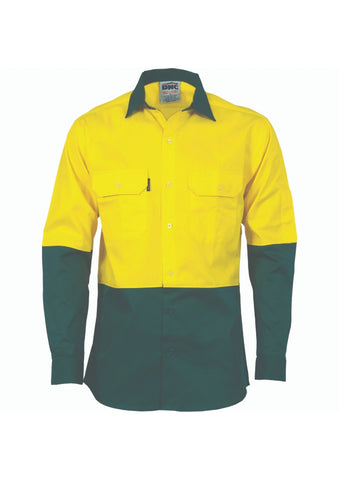 DNC Hi Vis 2 Tone Cotton Drill L/S Shirt