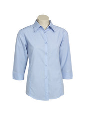 Biz Ladies Micro Check Shirt 3/4 Sleeve - Workwear Warehouse