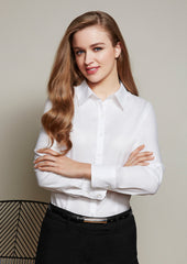 Biz Ladies Luxe Premium Cotton L/S Shirt - Workwear Warehouse