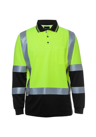 JBs Hi Vis L/S (D&N) H Pattern Trad. Polo - Workwear Warehouse