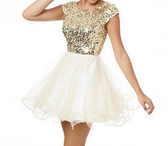 Gold Sequins Homecoming Dresses,Short Sleeves Open Back Homecoming Dresses,Homecoming Dress