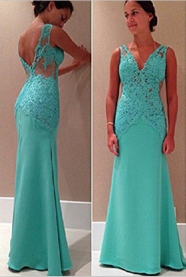 V-Back Prom Dress,Mint Green Prom Dresses,Long Evening Dress