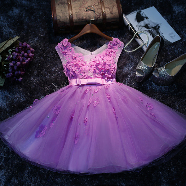 Purple Applique Homecoming Dress,Sleevesless Chiffong Homecoming Dresses