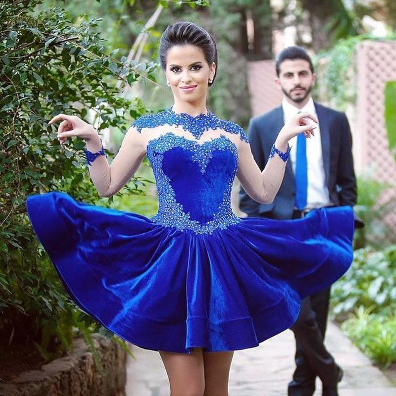 Lace Long Sleeves Homecoming Dress,Blue Velvet Homecoming Dress