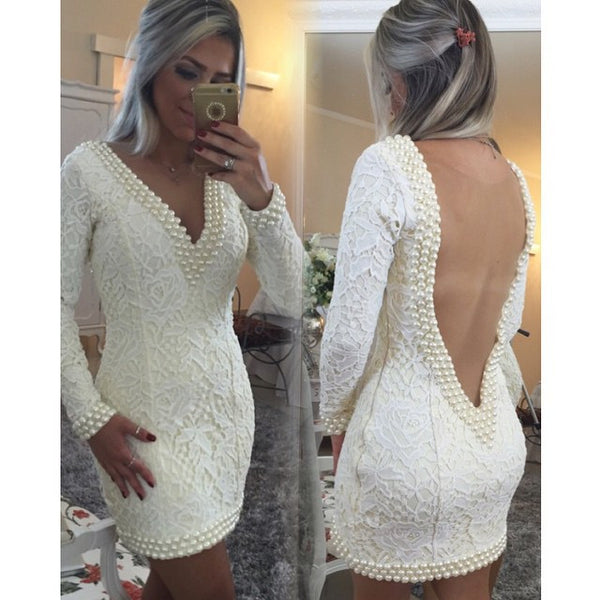 Homecoming Dresses, Short Sheath V-Neck Lace Homecoming Dresses, Long Sleeves Backless Cocktail Dress