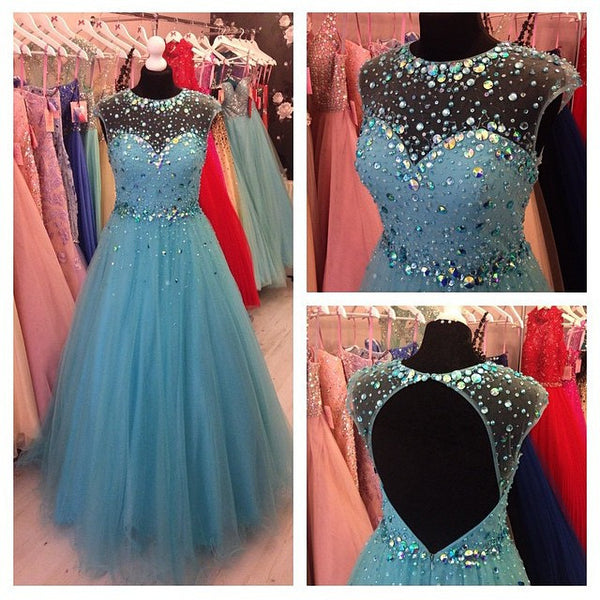 Blue Prom Dresses,A-Line Prom Dresses,Long Evening Dress