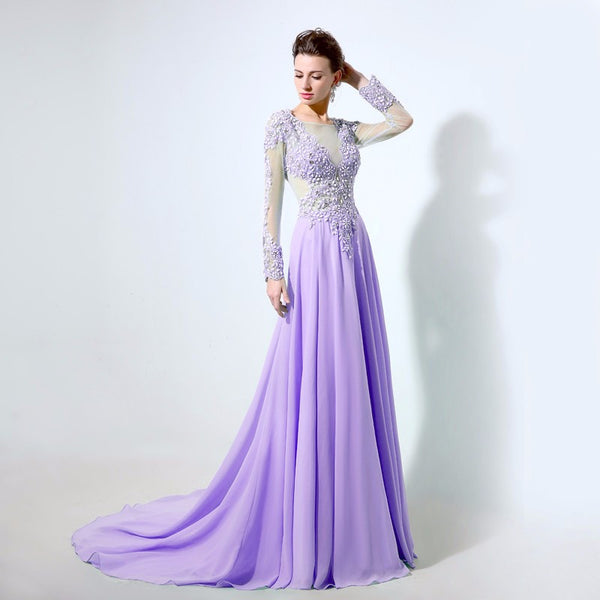 Sheer Neck Prom Dresses,Purple Prom Dresses,Long Evening Dress