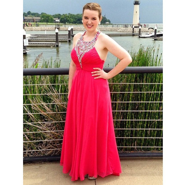 Red Prom Dresses,Chiffon Prom Dresses,Long Evening Dress