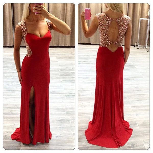 Prom Dresses, Red Prom Dresses, Long Evening Dress