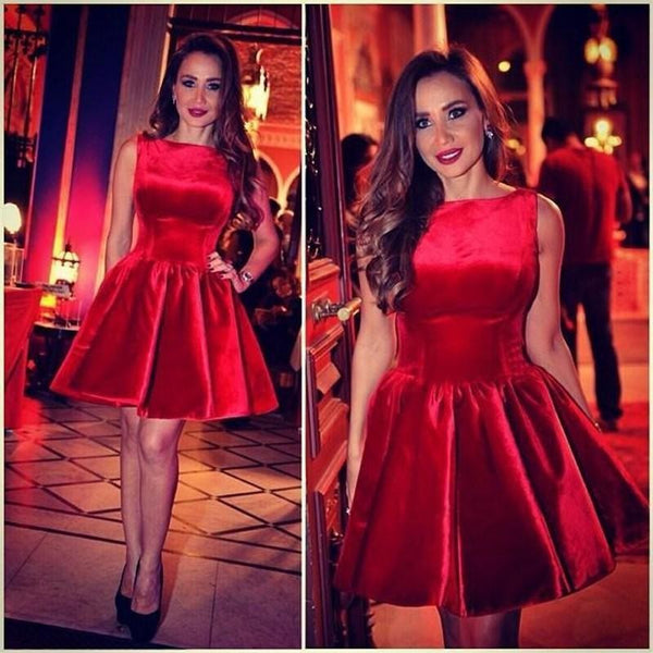 Red Homecoming Dress, Sleeveless Red Short Prom Dress