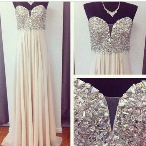 Beaded Prom Dresses,A-Line Prom Dresses,Long Evening Dress