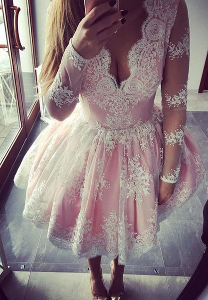 Pink Homecoming Dress, Long Sleeves Knee-Length Tulle Homecoming Dress with Appliques, Short Prom Dress