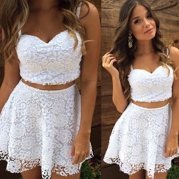 White Homecoming Dress, A-line Lace Short Two-Piece Summer Dress
