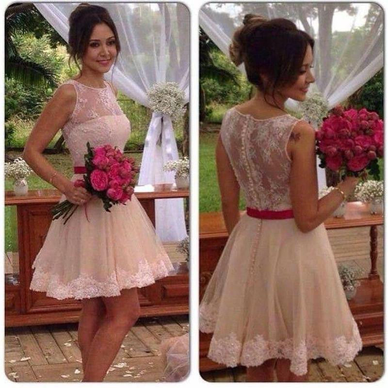Baby Pink Homecoming Dress, Elegant Sleeveless Mini A-line Lace Bridesmaid Dress, Short Prom Dress